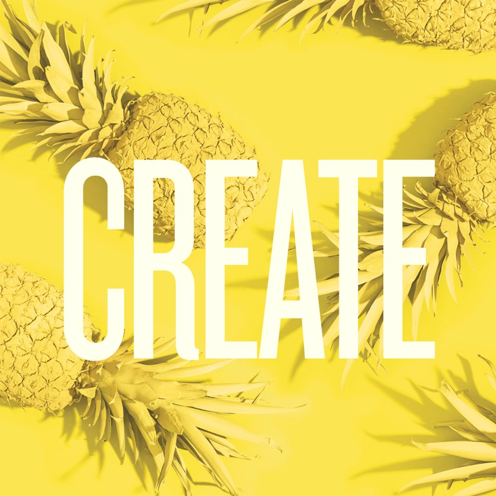 Text on yellow pineapple background