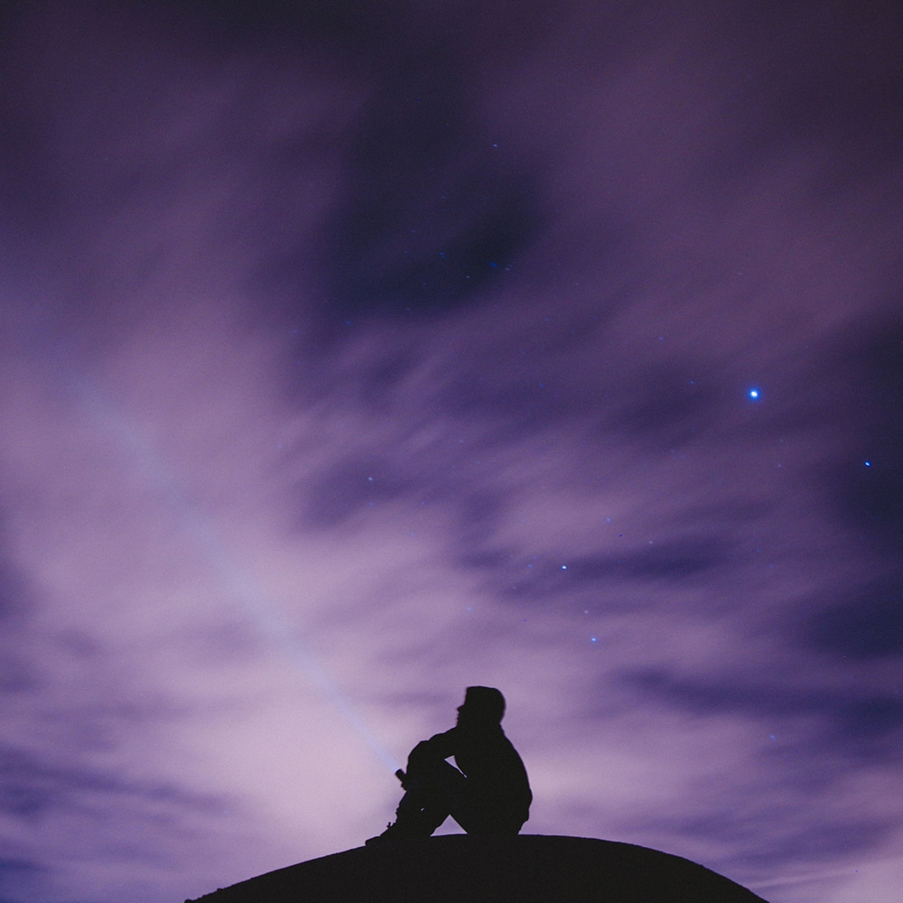 beautiful night sky and a silhouette
